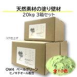 DIY リフォーム 壁 天然素材 珪藻土 漆喰より安心 日本製  自社製造 おトクな3箱セット OW4-ペールグリーン 色の組合せ可 送料無料