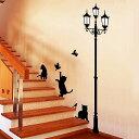 ウォールステッカー 街灯と猫 ウォールステッカー 北欧 ウォールステッ...