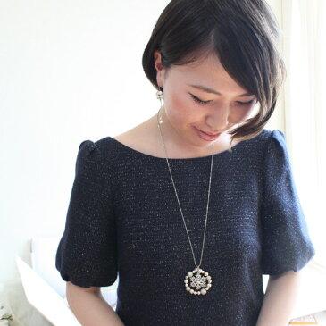 キラキラループと雪の結晶ロングネックレス(70cm)【日本製】