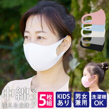 洗える立体中綿マスク5枚秋冬マスク/あす楽/メール便無料