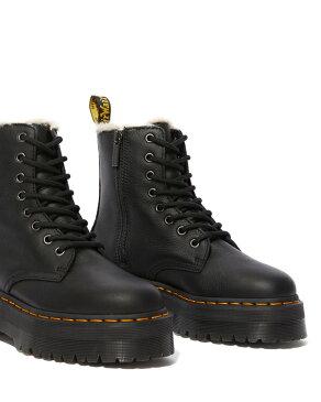 Dr.Martens Jadon Fur Lined 8 Eye Boot 25637001 Black Pisa ドクターマーチン ジェイドン ファーライン 8ホール ブーツ イエローステッチ 厚底 メンズ レディース