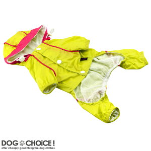 【petsoo】鮮やかなお色が可愛らしいフード付きフルカバータイプのレインコート