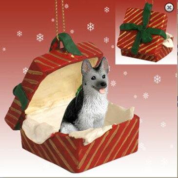 【シェパード black&silver】ギフトボックス・オーナメント/レッドBOX輸入雑貨・犬グッズ・犬雑貨・クリスマス