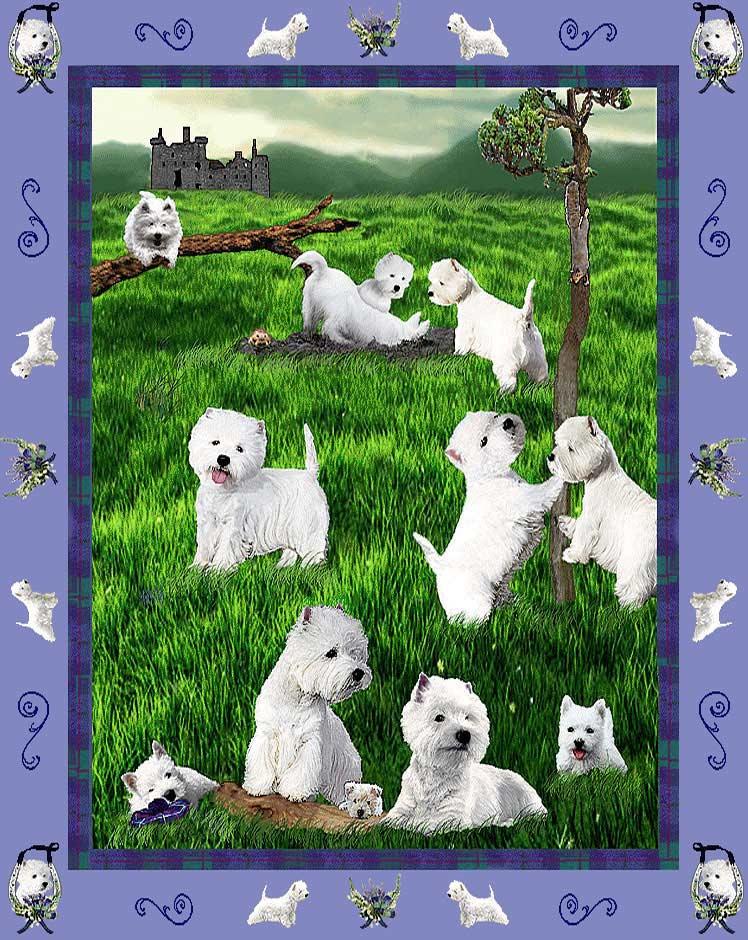 ゴブラン織り タペストリーウエスト・ハイランド・ホワイト・テリア/ウエスティ輸入雑貨 犬雑貨 犬グッズ