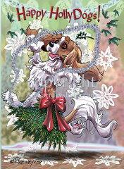Holidayクリスマスカード【キャバリア・キング・チャールズ・スパニエル】輸入雑貨[犬雑貨専門店 銀屋]