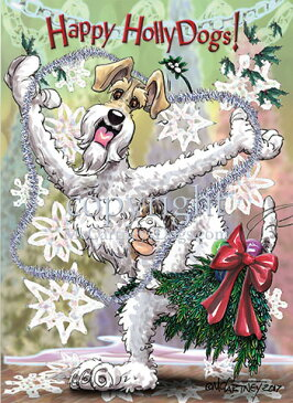 Holidayクリスマスカード【ワイアーフォックス・テリア/フォックステリア】輸入雑貨 犬雑貨 犬グッズ