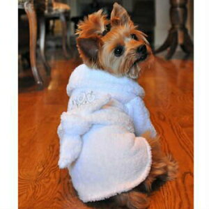 【DOGGIE DESIGN(ドギーデザイン)】White Silver Tiara Cotton Dog Bathrobe(ホワイトシルバーティアラバスローブ)【メール便限定送料無料】
