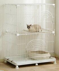 ≪数量限定!当店イチオシ!≫キャットケージ2段タイプホワイトPEC-902送料無料ケージゲージ猫猫ケージ猫ゲージ大型おしゃれおすすめケージ飼い室内キャスターアイリスオーヤマあす楽対応