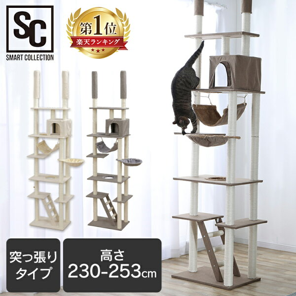 10倍 7日18時〜 キャットタワー突っ張りスリムおしゃれCCCT-4060T省スペースキャット猫タワーつっぱりネコ猫遊び道具