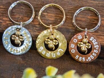 ※メール便で送料無料※REGALITO KOBE オーダーメイド 迷子札ゴールド・クローバー サークルタイプ(ドーナツ型)ネームタグ 犬 猫 首輪 ネックレス