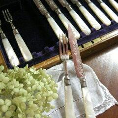 アンティーク 白蝶貝 カトラリー セット デザート ナイフ フォーク 美しい きれい ティータ…