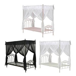 ロマンティックな寝室を…♪ 天蓋付きベッド 姫ベッド ベッド ホワイト 白 ピンク 桜色 ベッド...
