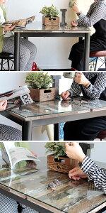 【送料無料】80ダイニングテーブル2人用ガラステーブル食卓テーブル古木風の木柄をパッチワークした個性派ダイニングテーブルビンテージやブルックリン、サーフハウス、男前インテリアとも相性ピッタリ天板ガラスは強化ガラス使用幅80cm