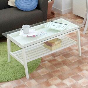 雑誌などを置ける棚板付き リビングテーブル ホワイト家具 ディスプレイ 机 テーブル 一人暮ら...