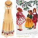 サロペット風がかわいい♪インド綿エプロンワンピース★ピンドット×裾レトロ風少女柄♪[オーバーオールスカート][ジャンパースカート][コットン100%][レトロ柄][マタニティ][授乳服][夏フェス][サロペットスカート][オールインワン]などをお探しの方に♪◆f96-11