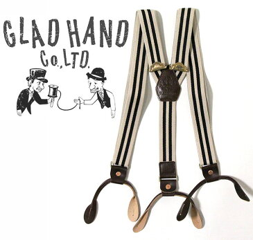 GLAD HAND & Co.(グラッドハンド)GH - SUSPENDERサスペンダーSIZE:FREE COLOR:IVORY x BLACK