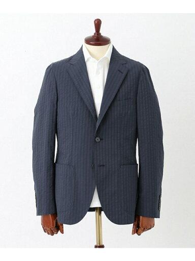 Life Style Tailor Seersucker Jacket DT64-18A017: Navy