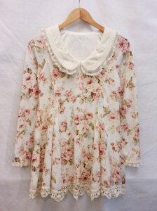 【LIZLISA】≪リズリサ襟付タオル地トップス白花柄≫[状態:B]