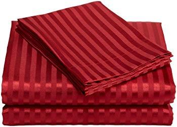 【中古】サテン ボックスシーツ4点セット ( ボックスシーツ×1、フラットシーツ×1、枕カバー×2 ) スレッドカウント230 (ダブル(フルサイズ) ストライ