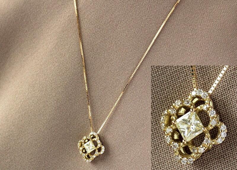 K18YG ベリー ライト イエロー ダイヤモンド ネックレスダイヤ 18金 K18 k18 18K 18k ネックレス ペンダント イエローゴールド