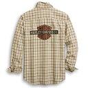 【純正品】HARLEY-DAVIDSON◆ハーレーダビッドソン・Men's Vintage Logo Plaid Shirt・メンズ ヴィンテージロゴチェックシャツ・ハーレーシャツ[スリムフィットサイズ]:96283-20VH