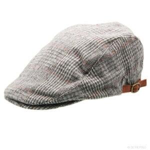 ハンチング ハンチング帽 グレンチェック柄 チェック 千鳥格子 帽子 秋冬 ウール 紳士 シック フリーサイズ メンズ レディース グレー