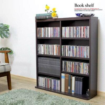 【特典アリ】90cmブックシェルフ木製CD収納DVD収納ラックブラウンコミック収納本棚