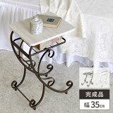 サイドテーブル テーブル 大理石風 おしゃれ ソファー用テーブル ホワイト アイアン 収納付き アンティーク 送料無料 棚付き 白 北欧 ベッドサイドテーブル