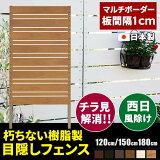[マルチボーダー 板間隔1cm]フェンス 目隠し 風呂場 庭 完成品 日本製 国産 パネル パーテーション 樹脂 人工木 180cm 150cm 120cm