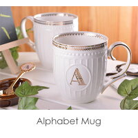 《DOUBLEHEARTセレクト》アルファベットマグマグカップカップマグ食器イニシャル陶磁器キッチンコーヒーカップスープマグコーヒーマグプレゼントギフトダブルハート