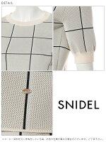 スナイデルsnidel4月下旬予約シルエットニットプルオーバーレディーストップスプルオーバーニット半袖5分袖無地チェックパフスリーブパワーショルダーswnt182135