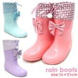 キッズレインブーツ長靴防水フード付き子どもリボンピンクサックスパープル水色紫雨靴game779