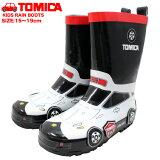 トミカキッズレインブーツキャラクター長靴子供白ホワイト黒赤ブラックレッド10619車かっこいい働く車tomica