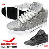 メンズスニーカー靴紳士グレーダークグレーシンプルミッドカットWILDNATURE2951