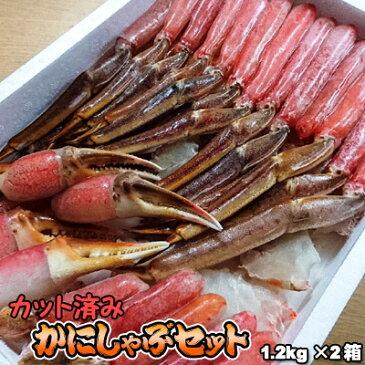 かにしゃぶセット カット済み 生 本ずわい 1.2kg×2箱(2.4kg) 送料無料 ※沖縄送料別途加算 ズワイガニ ずわいがに 蟹しゃぶ