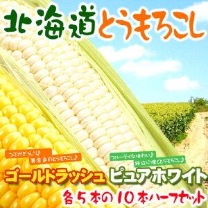ゴールドラッシュとピュアホワイトを5本づつセットに♪北海道とうもろこしハーフセット【送料無...