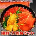 ウニにいくらにサーモンに!!極上の海鮮丼をタップリ楽しめる♪海鮮3色丼セット【楽ギフ_のし】