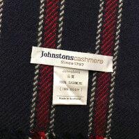 Johnstonsジョンストンズストール(ボーダー)秋冬ネイビー×赤【中古】【ランクB】【サイズ大判】【B0502O011】ブランド古着DBk【店頭受取対応商品】