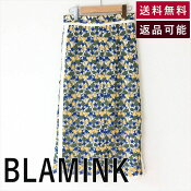 【中古】ブラミンクBLAMINKスカート青黄コットンレースフラワー未使用D0902K001-D0930