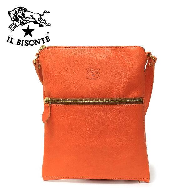 *イル ビゾンテフロントファスナーショルダーバッグ【オレンジ】A2182 P 166(ORANGE)/IL BISONTE:drawers(ドロワーズ)