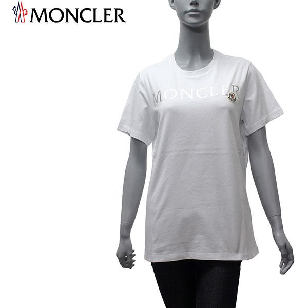 【2020SS】モンクレール レディース ワッペン付きシルバーロゴ 半袖Tシャツ【ホワイト】8C715 V8094 001/MONCLER/l-tops