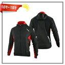 【送料無料】秋冬向けサイクルウェア裏起毛長袖 個性的なデザインジャージ レッド ブラック