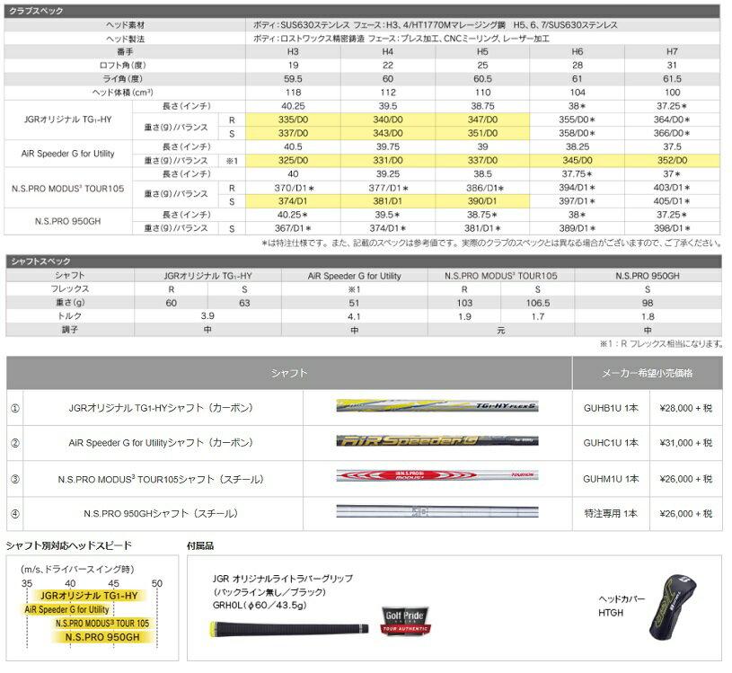 【2017年モデル】ブリヂストン ゴルフ TOUR B JGR HY ユーティリティAiR Speeder G for Utilityシャフト(カーボン)BRIDGESTONE GOLF