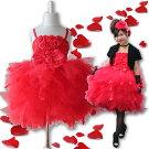 赤いバラの花びらが舞う子供ドレス発表会結婚式キッズドレスチュール激安こども子どもドレス入園式卒園式子供ドレス発表会