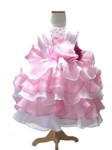 オーダー仕様でこの価格!ピンクとホワイトのシフォンのティアードスカートでボリュームたっぷりの子供 ドレス 子供 フォーマル ドレス ドレスこども 【eternity-エタニティ】90・100・110・120・130・140・150 こどもドレス