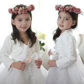 送料無料お子様ドレスに羽織って可愛さUP!パール飾りとローズのレースが上品なデザインの子供ボレロ100cm110cm120cm130cm140cm150cmホワイト