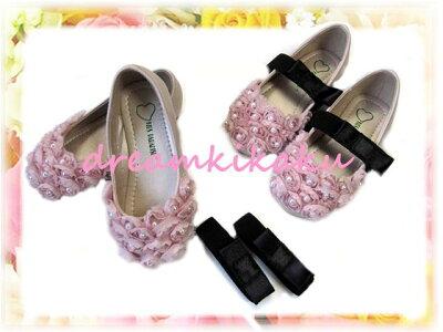 トゥーを飾るお花飾りがとってもキュートなピンクのフォーマル靴!バレーシューズ カジュアルに...