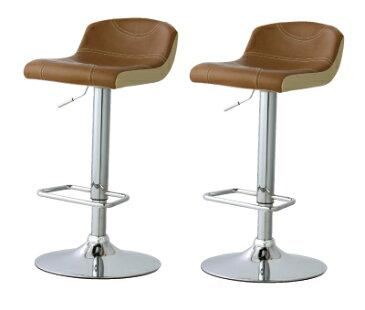 カウンターチェアー バーチェアー バースツール カウンタースツール イス 椅子 レトロモダン 2脚セット ブラウン