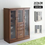 〔木製〕ナチュラルデザイン90cm幅食器棚〔ブラウン〕
