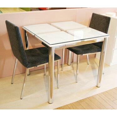 てーぶる 食卓テーブル 2人用 幅80cmカフェテーブル ガラス製 てーぶる